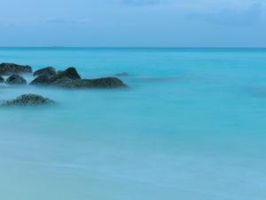Sunset waterscape at Alicetown on Bimini, The Bahamas.